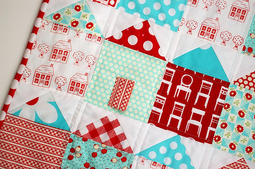 Red and Aqua House Doll Quilt by AFriend2