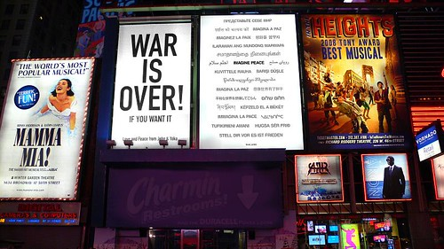 Yoko Ono: WAR IS OVER! / IMAGINE PEACE: Times Square, New York January 2009 by you.