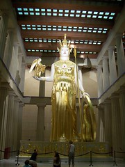 Look how tiny the people are next to her! (Daysleeper724) Tags: art june statue museum greek gold tn nashville kodak tennessee nike parthenon athena 2008 mythology c875