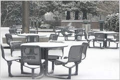 Waiting For Spring (Kurlylox1) Tags: trees snow storm washingtondc picnic chairs outdoor tables libraryofcongress flagpole 2009 jan27 madisonplaza