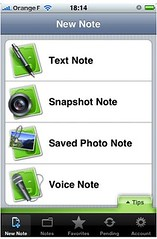 interface iphone evernote