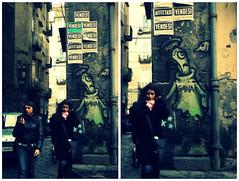 Urban Dreamer (Occhidaorientale [Mi votai all'inquietudine]) Tags: city pink urban verde green colors girl graffiti dream rosa giallo napoli naples dreamer disegni murales colori ragazza vendesi sogno sognare affittasi sogna variazionisultema sognante