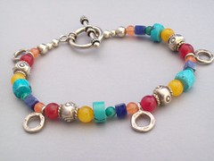 Fiesta Bracelet With Rings (sweetanniesjewelry) Tags: beads fiesta turquoise jewelry jade beaded sodalite sterlingsilver hilltribessilver