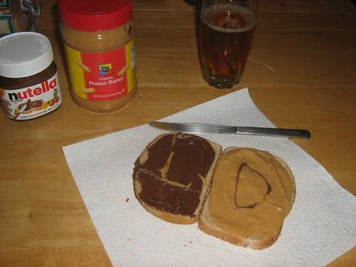 Peanut butter and Nutella sandwich