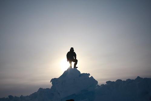 Team Member atop a pressure ridge