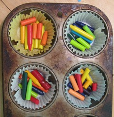Recycled crayons... before
