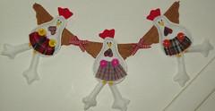 Varal de ccos (Ateli Alm do Arcoris) Tags: feltro bichinhos galinhas coisasdecozinha