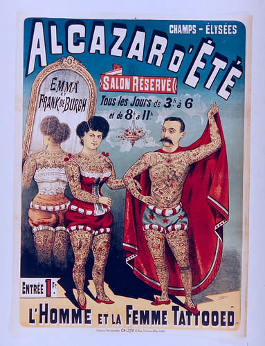 008- Affiche de propaganda del Alcazar de Verano anunciando el hombre y la mujer tatuados-siglo XIX