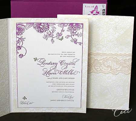 Handmade Vintage Wedding Invitation Vintage lace and butterflies add a