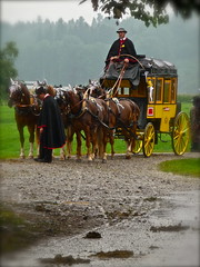 Historical Swiss Stage Coach, Postkutsche (Polo Scher) Tags: wedding horses people rain schweiz switzerland leute carriage suisse kutschen dressedup svizzera umbrellas hochzeit pferde rainfall regen edelweiss stagecoach personen koffer bagagge schirme alphorn schirm alpinehorn gepck schlechteswetter postkutsche horsecarriages swissalpinehorn niederschlag postalstagecoach