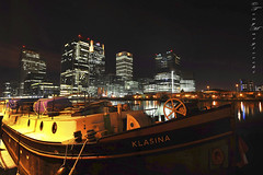 Barge Klasina moored near Canary Wharf. (Tony Margiocchi (Snapperz)) Tags: city london night docklands canarywharf barge banks moored bankers klasina ©tonymargiocchi