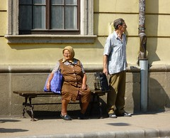 At the bus stop (stromnessdundee) Tags: old lady hungary candid seat eger 240365 2009inphotos