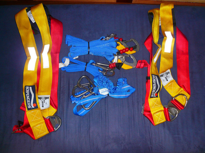 how about some spare harnesses and tethers.  yes, spares.  these are all new.  never used