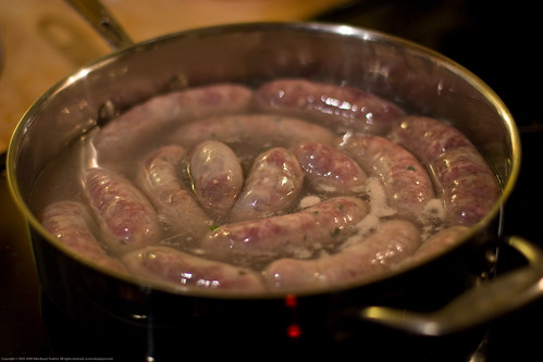 Colombian Sausages: add water to simmer