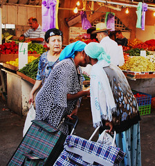 Body language (The two ladies: Glad to see you. The lady behind: ..I can't believe my eyes..!!) (Itzhak Richter) Tags: people woman lady shopping kiss market bodylanguage tradition chet ramle meetwith