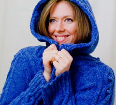 Hoodie Weather - 39:365 (LollyKnit) Tags: blue wool sweater knitting handknit rephotographed cables bobble oldknits patonsstreetsmarthoodie