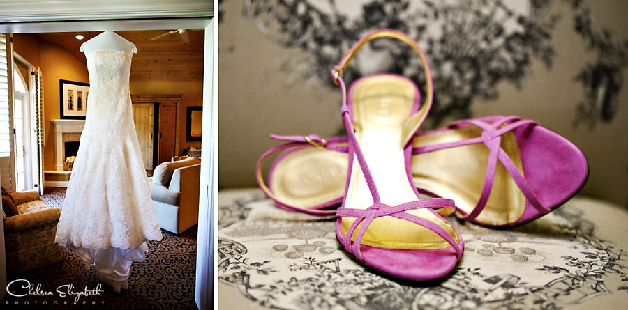 Westlake Village Inn Bridal Suite getting ready room pink room wedding dress picture