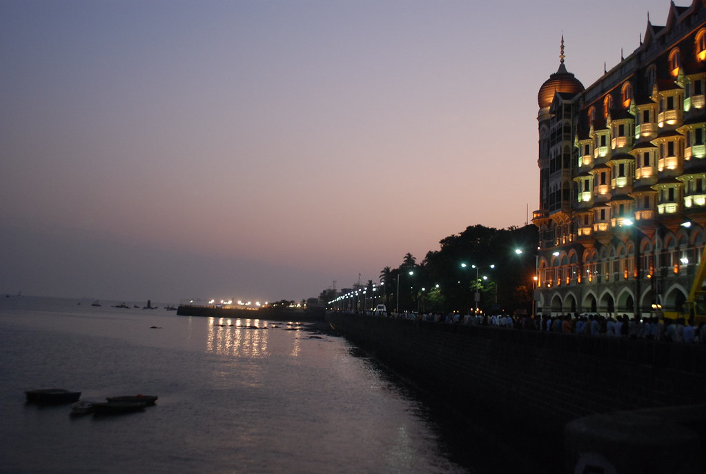 The Taj Mahal Hotel facing the sea.