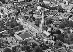 Norwich Cathedral from the air (mira66) Tags: blackandwhite cathedral air norfolk aerial norwich oldphoto eastanglia