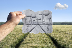 Pencil Vs Camera - 54 (Ben Heine) Tags: life travel summer cloud inspiration green art ecology field grass birds project landscape vent photography hope freedom countryside sketch vanishingpoint corn scenery heaven paradise poem escape hand view belgium wind drawing path wheat perspective champs documentary poetic fresh stairway story libert seven xray littleman reality imagination imaging t nuage suitcase departure discovery papier campagne oiseau paradis dandy vie dpart valise croquis crosshatching expectation bl fuite chelle rve pastpresentfuture magicnumber justclouds ralitaugmente benheine braives katiegabrielle pencilvscamera