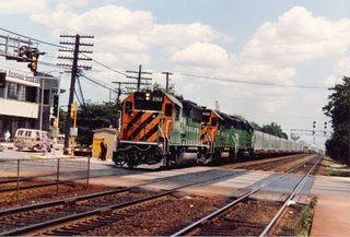 Westbound Burlington Northern freight train. La Grange Illinois. June 1986.