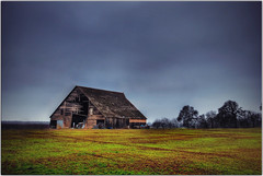 An asteroid hit my barn (Extra Medium) Tags: california trees abandoned grass clouds barn countryside farm explore hdr ruraldecay