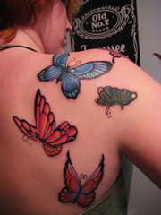 finally! (kat[hleen]) Tags: new blue red green mike yellow tattoo ink austin butterfly back wings texas butterflies colored shoulder atomic shading
