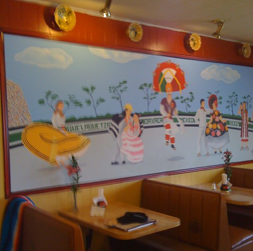 Here is a mural which is still around from the previous restaurant.  Guelaguetza is an annual celebration in the city of Oaxaca.