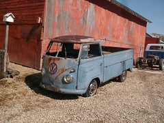 vw (darcy_s.) Tags: old blue bus vintage volkswagen rusty pickup transporter singlecab
