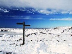 The Track to Bleaklow (Weeping-Willow Photography) Tags: snow derbyshire peakdistrict bluesky hills signpost snowyday fingerpost msh0809 pennieway peakdistrictpennieway msh08096