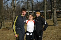 Luke Watson, Rebecca Donaghue, and Artie Gilkes following the warm-down after their races at the USA XC Championships.