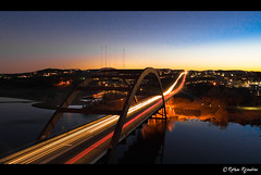 Pennybacker Bridge - Austin, TX (r a r a r a j | fotography) Tags: bridge blue sunset red orange lake canon austin evening texas tx lighttrails hilltop 360bridge pennybacker rathan bej 400d rebelxti 360loop goldstaraward top20texas bestoftexas