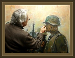 PINTURA MILITAR-THE PAINTER ERNEST DESCALS WORKING  IN HIS STUDY-MILITARY PAINTING- (Ernest Descals) Tags: pictures barcelona portrait people selfportrait art history work soldier spain artist arte interior military helmet autoretrato award estudio krieg historic study fotos painter soldiers historical catalunya imagenes ritratti casco historia painters pintor pintores soldado artista militaria cuadro manresa peintres soldados militares historica quadres maler storia cataluna cascos uniformes peinter historicas storica historicos pintors descals ernestdescals awrded miliyaria secondwordlwar