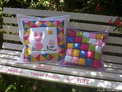 almofada puff e fuxicos (Carla Cordeiro) Tags: puff fuxico cushion decorao almofada tcnica cetim patchwotk quartodebeb yankeepuzzle