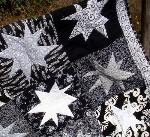 black white quilt detail