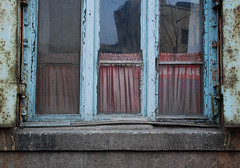(NowJustNic) Tags: china pink detail reflection texture window glass concrete nikon rust peeling paint decay curtain  qingdao windowsill shandong  ruffle tsingtao  d80 nikkor18135mm