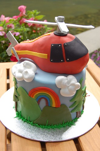 Ezra's Helicopter Cake - rainbow side