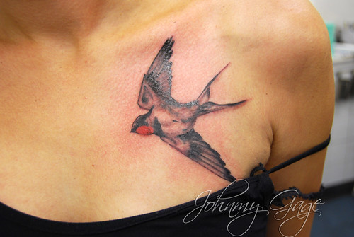 realistic swallow tattoo