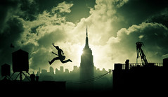 Air Guitar (Dylan-K) Tags: city light shadow sky blackandwhite sun newyork man building green bird water birds silhouette rock electric skyline architecture modern night photoshop dark evening scary dangerous jump jumping nikon tank risk guitar air horizon faith extreme n cable musical flare roll conceptual nikkor gotham taking cinematic leap mid darkcity donttrythisathomekids