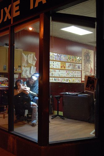 Chicago People: Girl Getting a Tattoo, Deluxe Tattoo, Chicago,