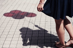 Childhood Reflections ({peace&love}) Tags: blue shadow red white cute girl kids balloons holding sandals teenagers skirt polka dots pinkparis1233