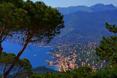 Postcard from  Camogli (! .  Angela Lobefaro . !) Tags: trip travel sea vacation italy holiday seascape tree nature girl leaves architecture landscape hotel interestingness meer europe italia village view quality patterns liguria ligury explore cielo nubes monte focaccia camogli frontpage portofino idyllic italians marenostrum marmediterraneo explored i500 fishervillage natuzzi holidaysvacanzeurlaub angiereal travelerphotos angelamlobefaro