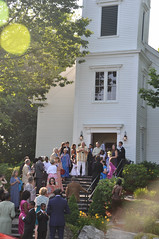 Church Steps #1, Biddeford Pool, ME (Laura Dunn-Mark) Tags: wedding usa church guests groom bride unitedstates union steps maine ceremony marriage reception northeast greeting 2009 exiting receivingline biddefordpool lauradunnmark