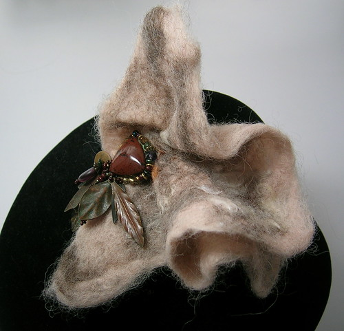 Sandstone & Feathers Handfelted Brooch