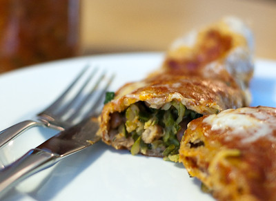 Kale, Zucchini and Pinto Bean Enchilada