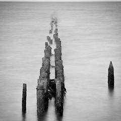 Seaposts at Othona (Upscape) Tags: longexposure bw mono nikon essex bradwell 8seconds d40 bradwellonsea othona nikond40 06nd