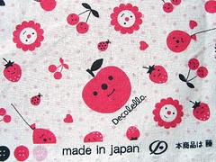Cute Japanese Cotton Fabric - Decole - Decolello - Smiling Apple (kawaii_fabric_and_paper) Tags: japan japanese linen sewing fabric cotton commercial kawaii supplies decole japanesefabric shinzikatoh decolello