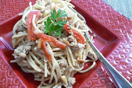 Spaghetti with Creamy Mascarpone Sauce & Italian Sausage Recipe
