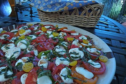 homegrown tomatoes, homemade mozzarella
