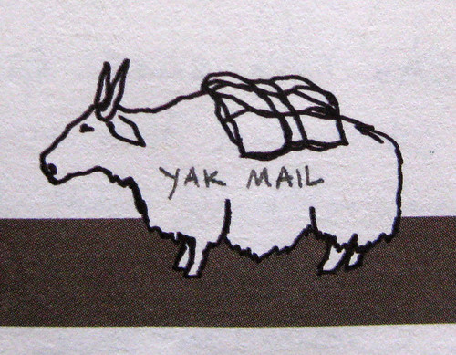 Yak mail looks west